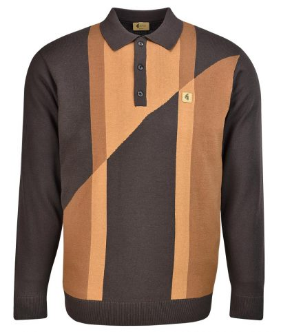 Gabicci Vintage Expresso Abstract LS Polo Shirt