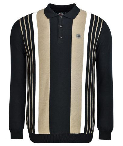 Trojan Records Black Stripe Front LS Polo Shirt