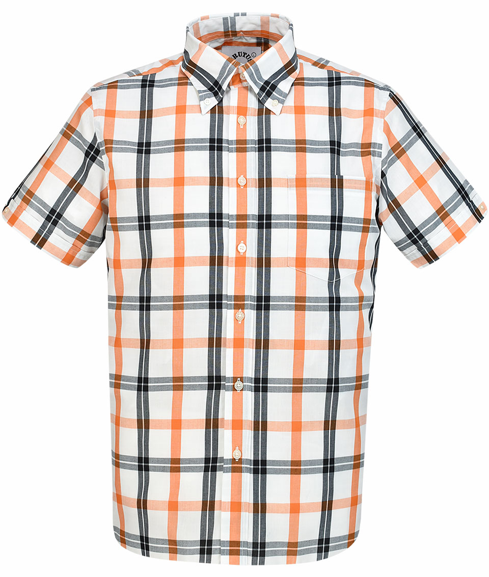 Lambretta Navy//Orange//White Checked Retro Short Sleeved Shirt