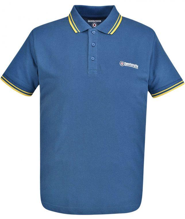 Lambretta Denim & Gold Tipped Polo T-Shirt