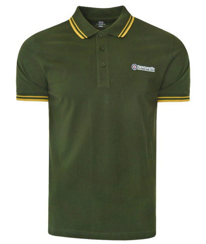Lambretta Khaki & Gold Tipped Polo Shirt