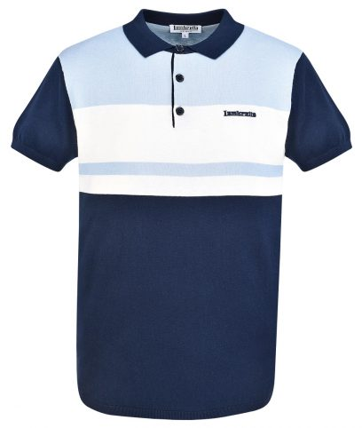 Lambretta Navy Colour Block Knit Polo T-Shirt