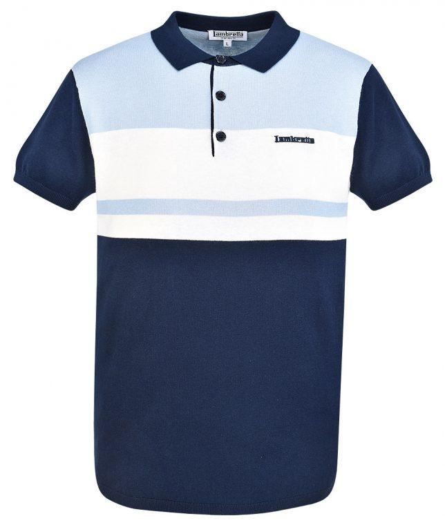 Lambretta Navy Colour Block Knit Polo T-Shirt