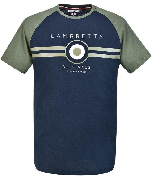 Lambretta Navy Target Raglan T-Shirt