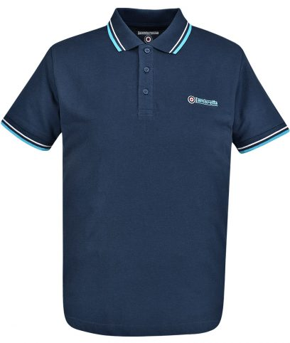 Lambretta Navy & Turquoise Tipped Polo T-Shirt