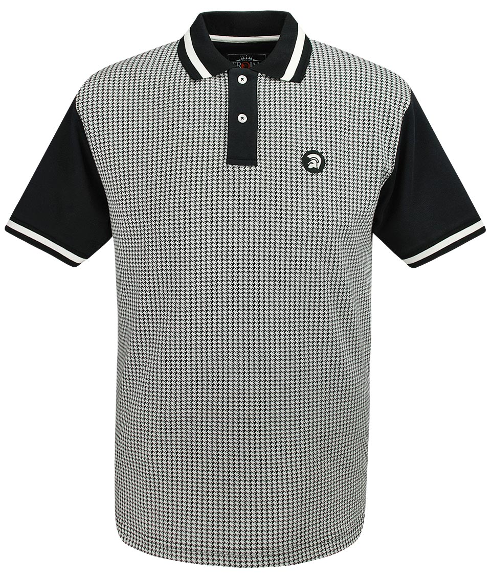 2c8b06bea Trojan Records Black Houndstooth Polo Shirt - Modfellas Clothing