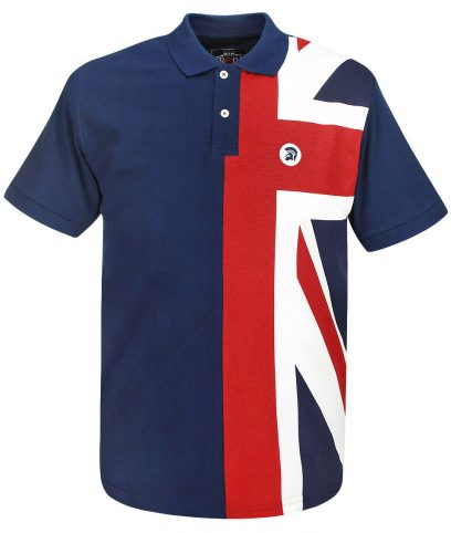 Trojan Records Navy Flag Front Polo T-Shirt
