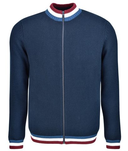 Art Gallery Navy Clarke Knitted Zip Cardigan