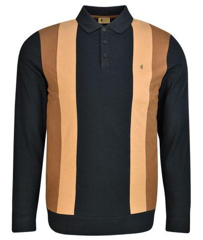 Gabicci Vintage Black Stripe Front LS Polo Shirt