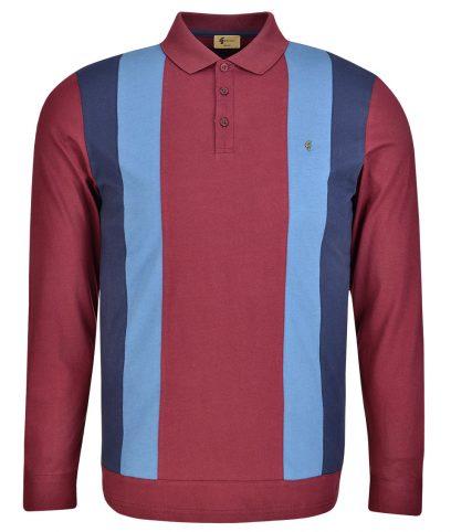 Gabicci Vintage Merlot Stripe Front LS Polo Shirt