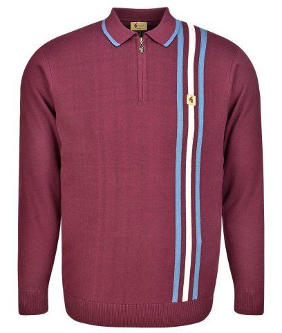Gabicci Vintage Merlot Stripe LS Zip Polo Shirt