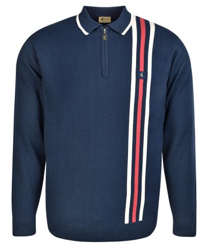 Gabicci Vintage Navy Stripe LS Zip Polo Shirt