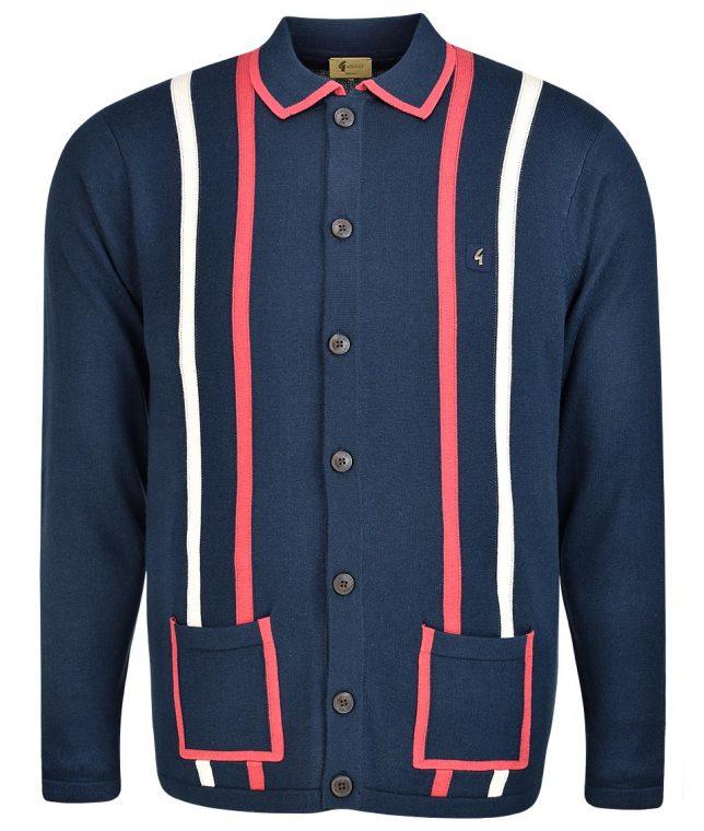 Gabicci Vintage Navy Twin Stripe LS Cardigan