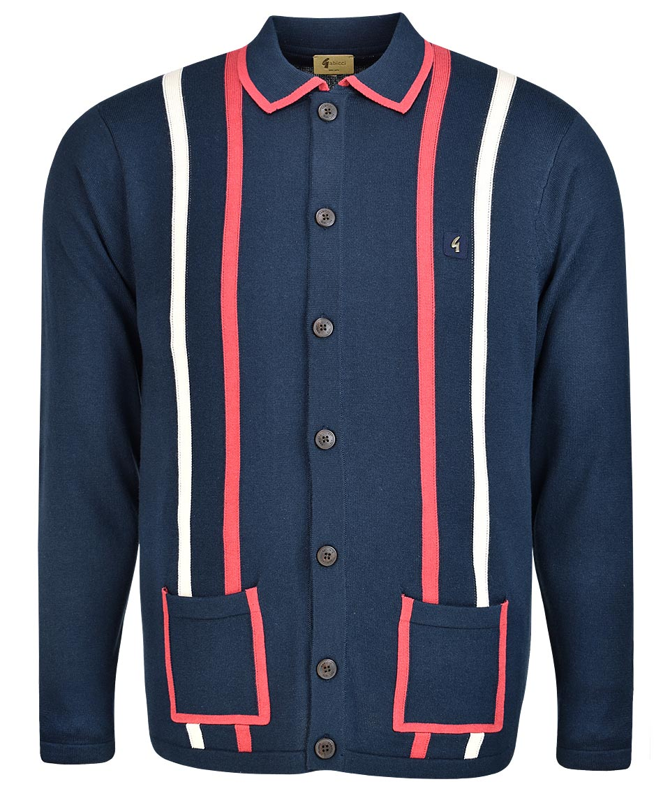 560645b51c5f Gabicci Vintage Navy Route Twin Stripe Cardigan - Modfellas Clothing