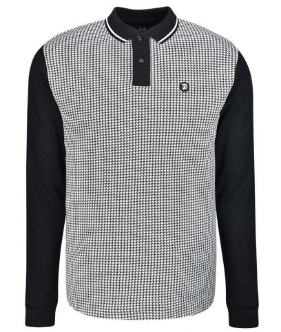Trojan Records Black Houndstooth LS Polo Shirt