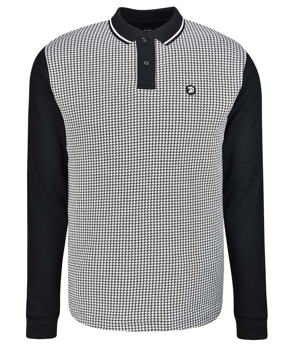 a459b70c5 Trojan Records Black Houndstooth L/S Polo Shirt - Modfellas Clothing