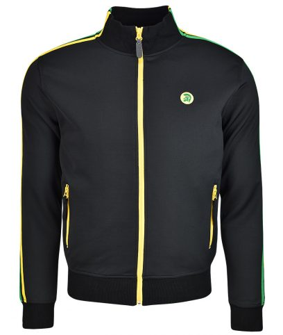 Trojan Records Black Jamaica Twin Stripe Track Top