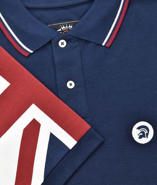 Trojan Records Navy Union Jack Sleeve Polo Shirt