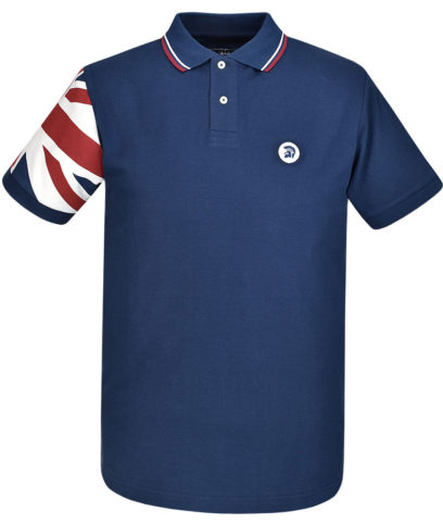 Trojan Records Navy Union Jack Sleeve Polo Shirt