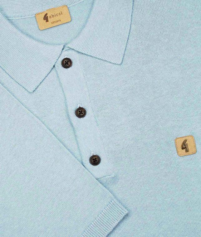 Gabicci Vintage Mist Knitted Plain Polo Shirt