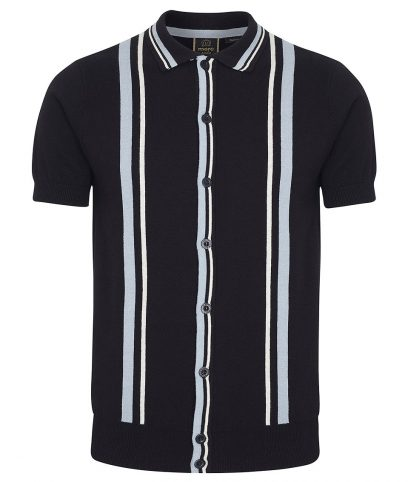 Merc Black Pilot Stripe Knit Polo Shirt