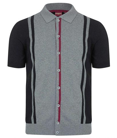 Merc Black Putney Stripe Knit Polo Shirt