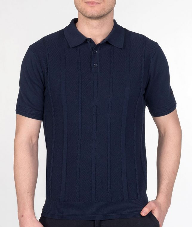 Merc Navy Frith Cable Knit Polo Shirt