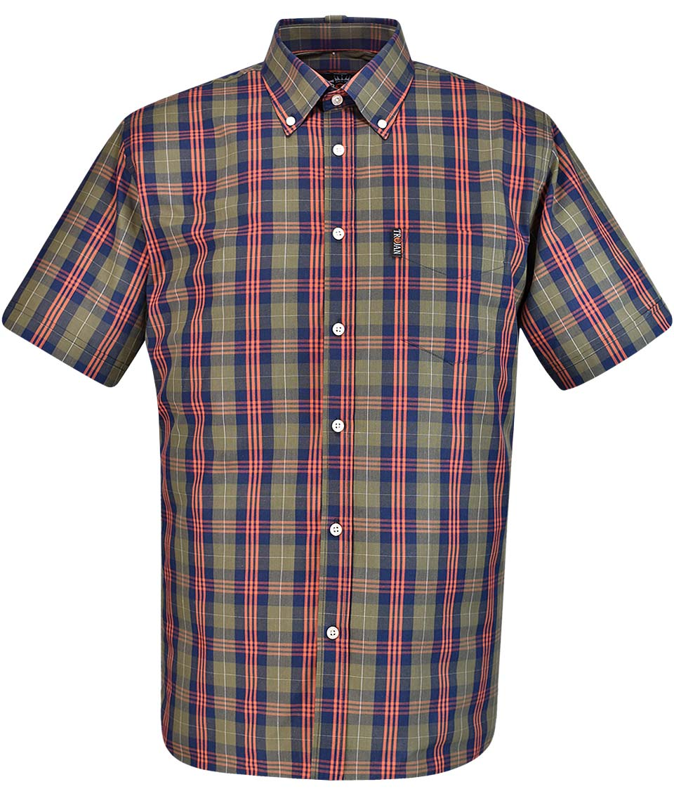 ea19c95d823 TROJAN RECORDS L OLIVE TARTAN CHECK S S SHIRT BNWT LARGE GREEN TC ...