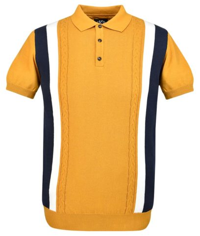 Ska & Soul Gold Stripe Cable Knit Polo Shirt