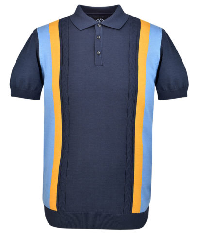 Ska & Soul Navy Stripe Cable Knit Polo Shirt