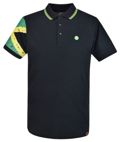 Trojan Records Black Jamaica Flag Sleeve Polo Shirt