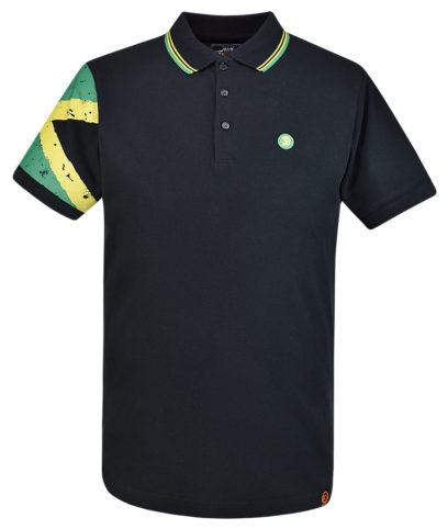 Trojan Records Black Jamaica Flag Sleeve Polo Shirt