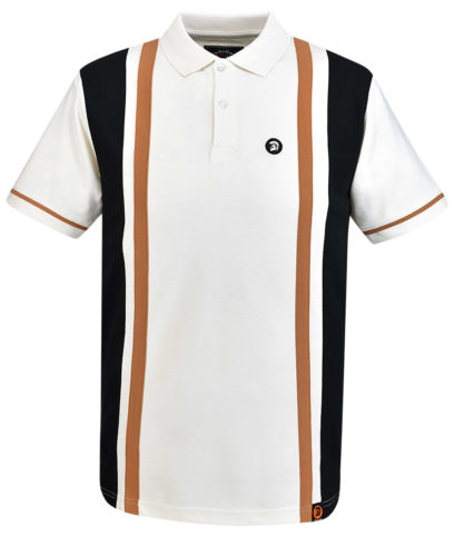 Trojan Records Ecru Stripe Panel Polo Shirt