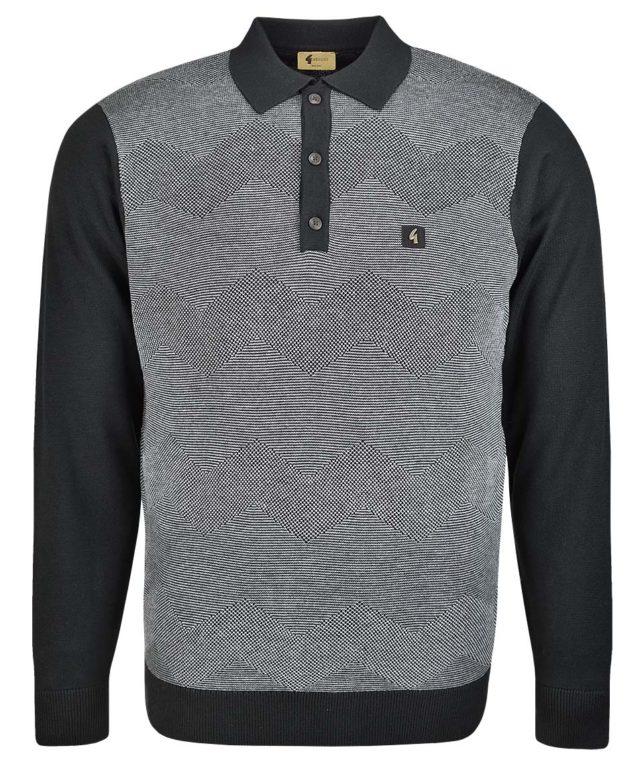 Gabicci Vintage Black Birdseye LS Polo Shirt