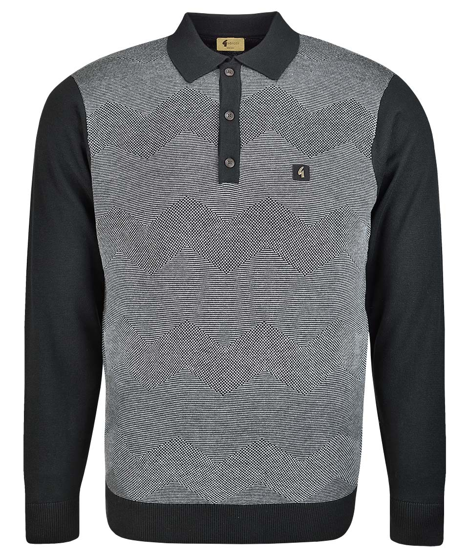 d38ceb065 Gabicci Vintage Black Harcourt L/S Polo Shirt - Modfellas Clothing