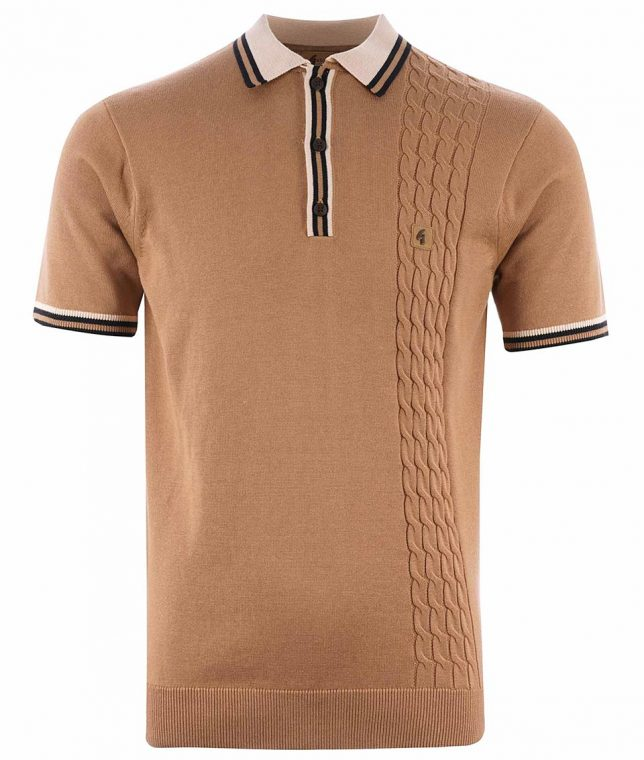 Gabicci Vintage Butterscotch Croxted Cable Knit Polo Shirt