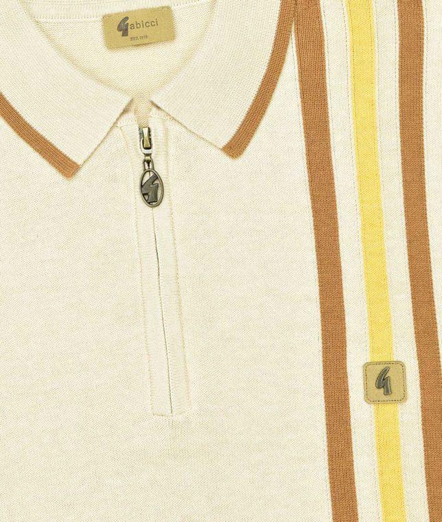 Gabicci Vintage Oat Stripe LS Zip Polo Shirt