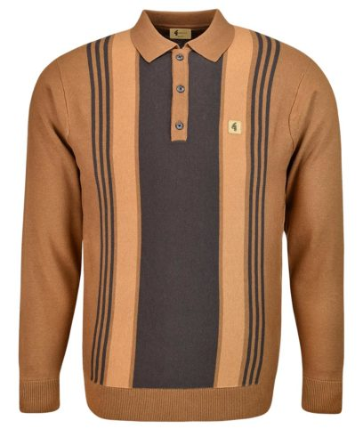 Gabicci Vintage Toffee Vertical Stripe LS Polo Shirt
