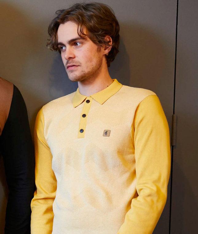 Gabicci Vintage Yellow Birdseye LS Polo Shirt