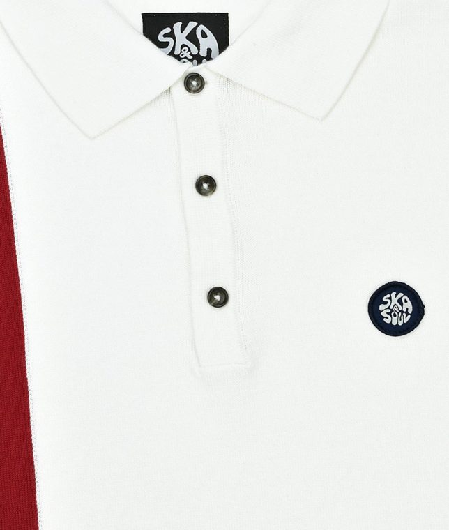 Ska & Soul Ecru Racing Stripe Knit Polo Shirt