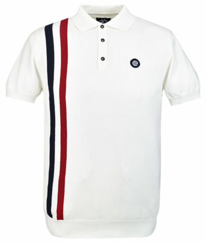Ska & Soul Ecru Racing Stripe Knit Polo Shirt