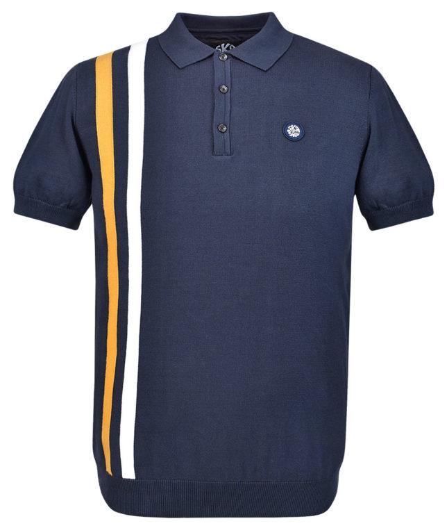 Ska & Soul Navy Racing Stripe Knit Polo Shirt