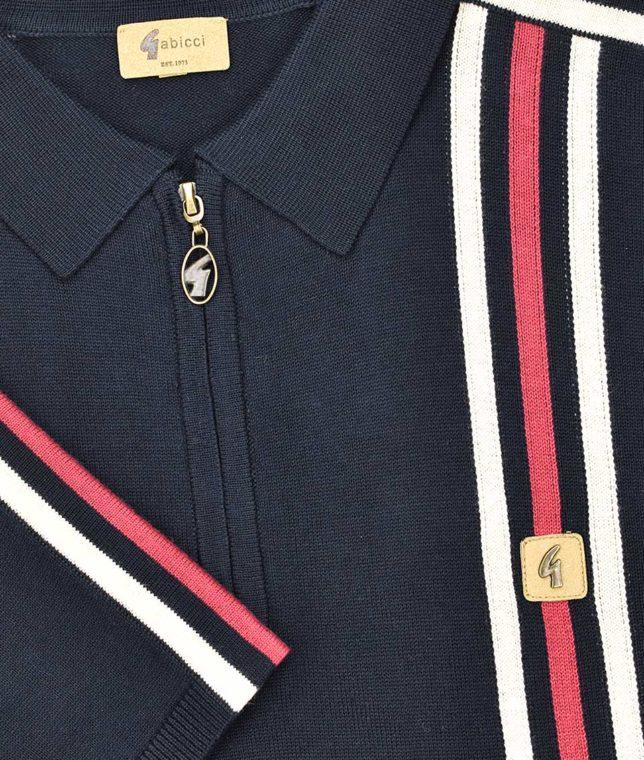 Gabicci Vintage Navy Stripe Zip Polo Shirt