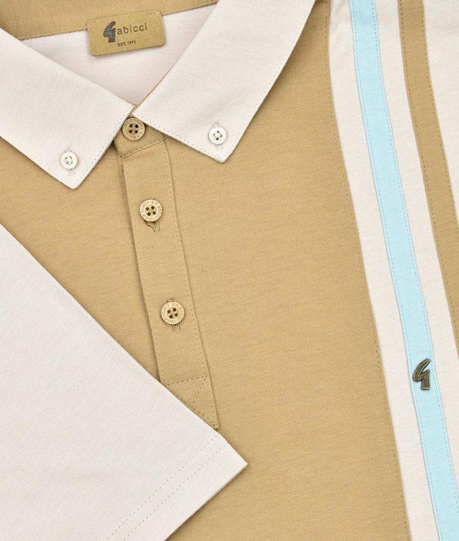 Gabicci Vintage Oat Stripe Panel Polo Shirt