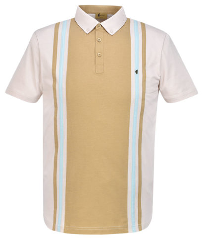 Gabicci Vintage Oat Stripe Panel Polo Shirt