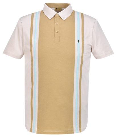 2e755a14 Gabicci Vintage Oat Briar Stripe Panel Polo Shirt