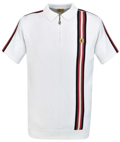 839fcbe0 Gabicci Vintage White Langton Stripe Zip Polo Shirt