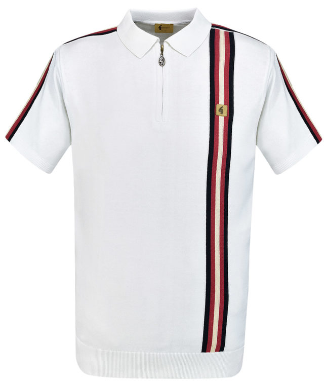 Gabicci Vintage White Stripe Zip Polo Shirt