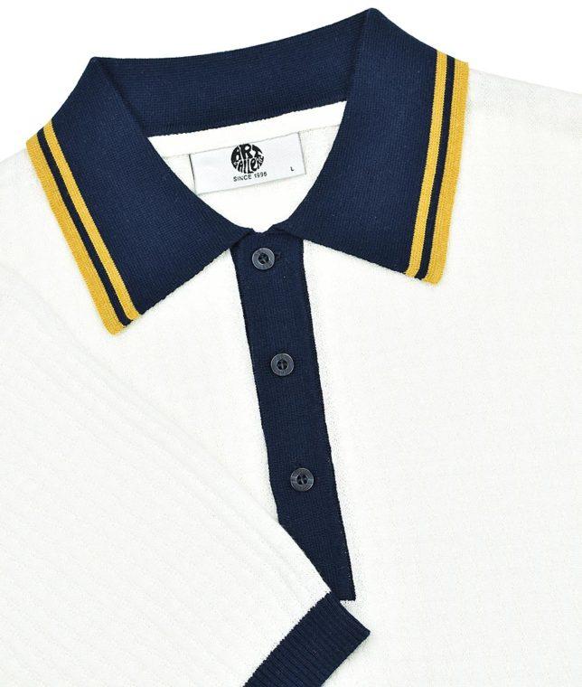 Art Gallery Off White Freeman Knit Polo Shirt