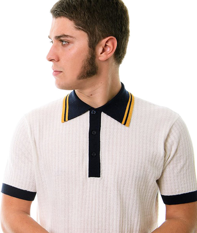 Art Gallery Off White Freeman Knit Polo Shirt
